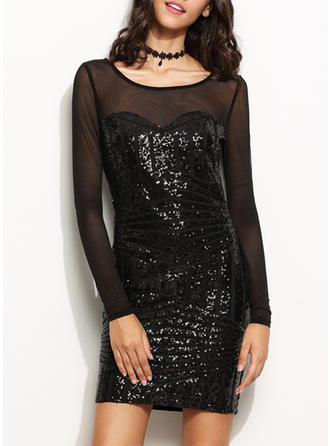 Sequins Long Sleeves Sheath Above Knee Little Black/Party Dresses
