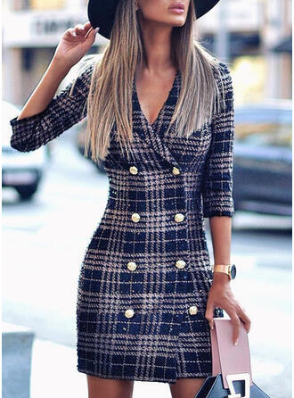 Plaid 3/4 Sleeves Sheath Above Knee Casual/Elegant Dresses