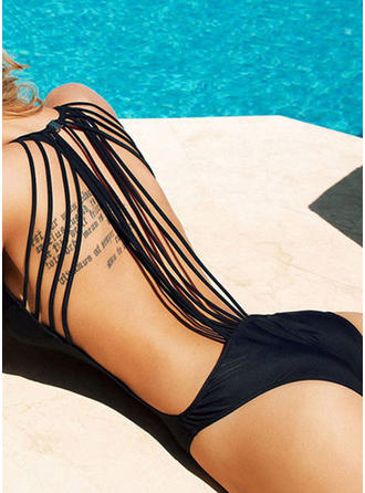 Solid Color U Neck One-piece Swimsuit