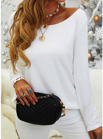 Solid Round Neck Casual Knit Tops