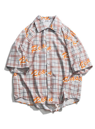 Men's Grid Hawaiian Beach Shirts