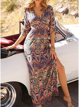 Print 1/2 Sleeves A-line Maxi Casual/Boho/Vacation Dresses