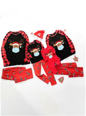 Renifer Deer Wydrukować Rodzinne Dopasowanie Świąteczne piżamy