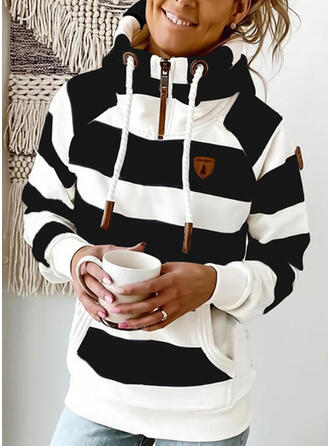 Color Block Pockets Long Sleeves Hoodie