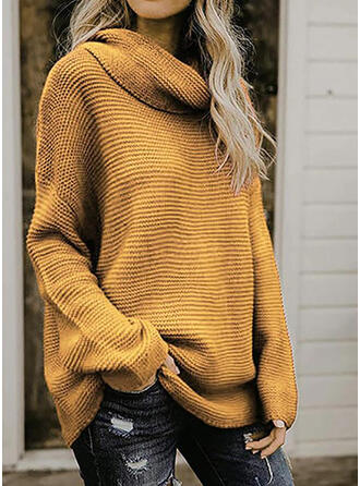 Solid Vaffel-strik Chunky strik Turtleneck Trøjer