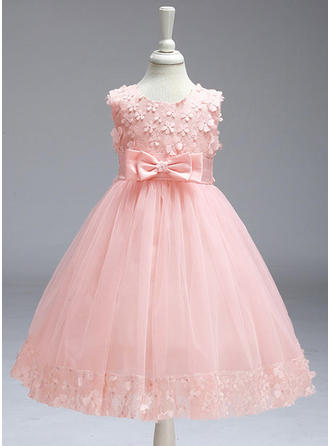 Girls Round Neck Solid Lace Bow Cute Flower Girl Dress