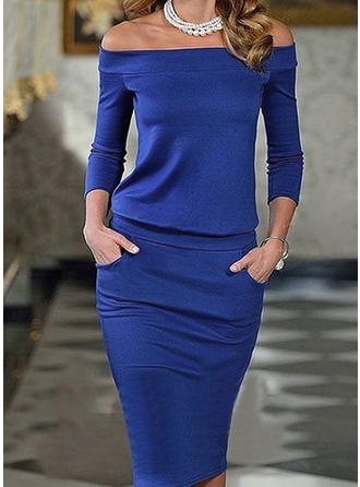 Solid Off-the-Shoulder Midi Sheath Dress