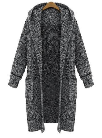 Cotton Blends Hooded Plain Cardigan