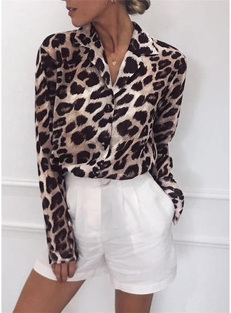 Animal Print Lapel Long Sleeves Button Up Casual Blouses