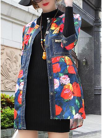 Denim 3/4 Sleeves Floral Denim Coats