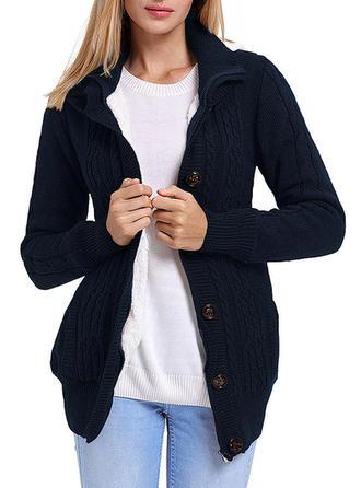 Knitting Long Sleeves Plain Slim Fit Coats