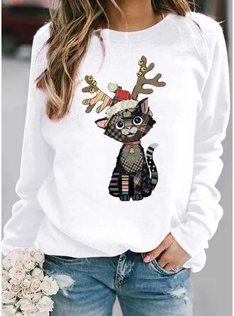 Dyr rund hals Lange ærmer Jule sweatshirt