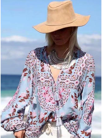 Polyester V Neck Floral Lantern Sleeve Ruffle Blouses