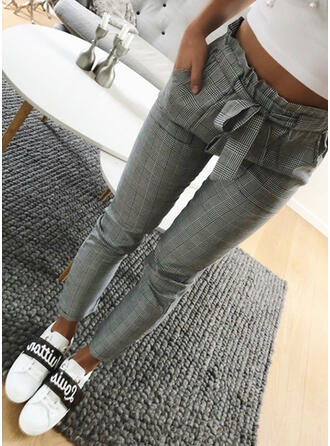 Plaid Shirred Plus Size Long Elegant Plain Pants