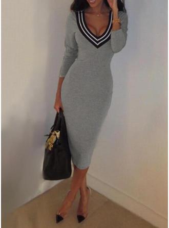Striped Long Sleeves Bodycon Midi Casual/Elegant Dresses