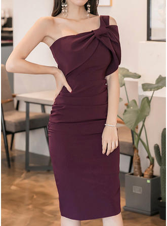 Solid Strap Knee Length Bodycon Dress