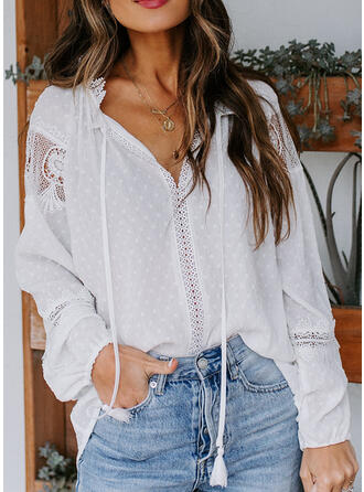 Solid Lace V-Neck Long Sleeves Casual Elegant Blouses