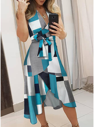 Striped/Geometric Print Sleeveless A-line Asymmetrical Casual/Elegant Dresses