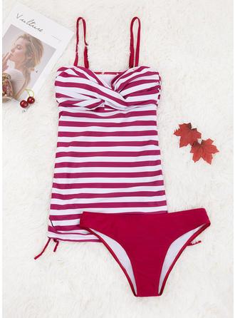 Floral Stripe Strap Elegant Tankinis Swimsuits