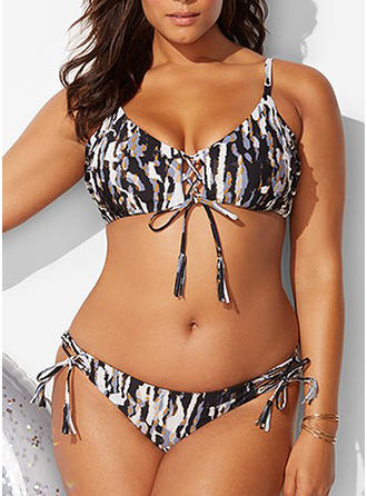 Leopard Low Waist Strap V-neck Sexy Fashionable Bohemian Classic Attractive Plus Size Bikinis Swimsuits