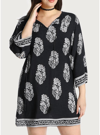 Print 3/4 Sleeves Shift Above Knee Casual/Vacation/Plus Size Dresses