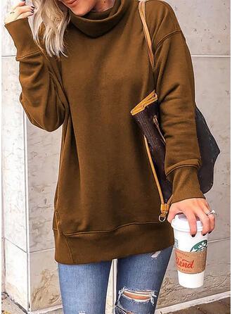 Solid høj hals Lange ærmer Sweatshirts
