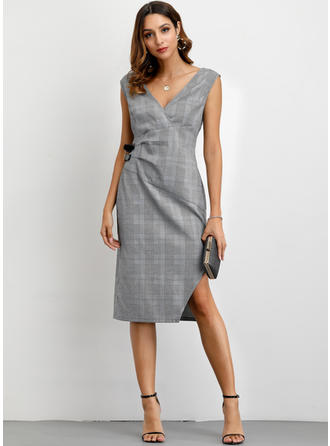 Plaid Sleeveless Sheath Knee Length Casual/Elegant Dresses