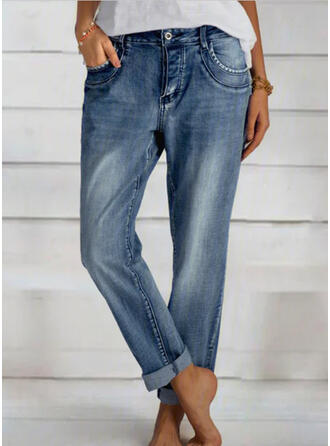 Shirred Long Elegant Plain Denim & Jeans