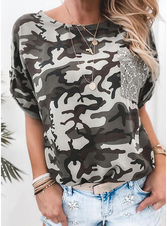 Print Sequins Round Neck 1/2 Sleeves Casual T-shirts