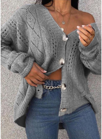 Polyester Long Sleeves Plain Cable-knit Cardigans