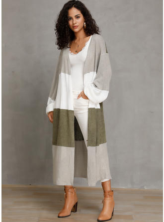 Cotton Blends Long Sleeves Color Block Cardigans