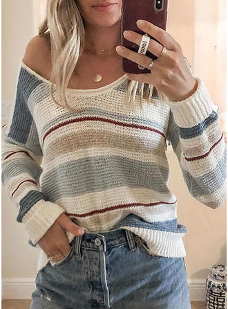 Color Block Striped V neck Sweaters