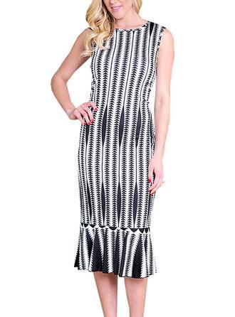 Striped Round Neck Sheath Dress