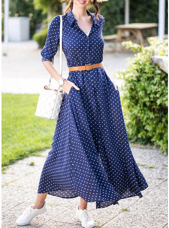 PolkaDot Long Sleeves A-line Casual Midi Dresses