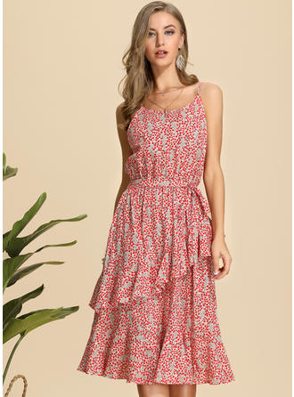 Print Sleeveless A-line Midi Casual/Vacation Dresses