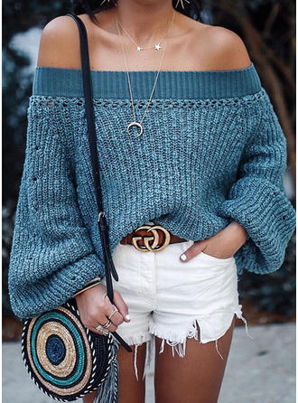 Polyester Off the Shoulder Couleur unie Pulls