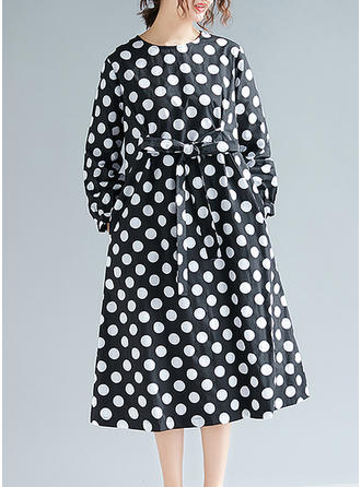 PolkaDot Long Sleeves Shift Midi Casual Dresses