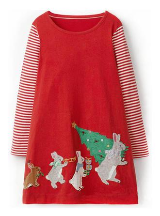 Dziewczyny Okrągły Dekolt W paski Zwierzę Party Boże Narodzenie Sukienka