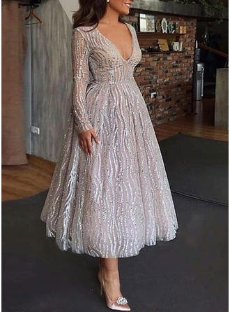 Sequins Long Sleeves A-line Midi Party/Elegant Dresses