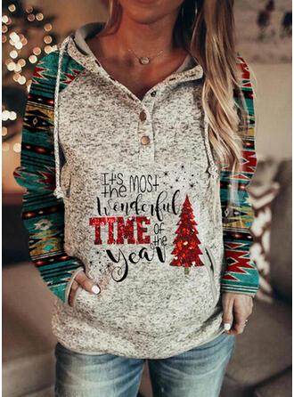 Print pailletter Figur Lommer Lange ærmer Jule sweatshirt
