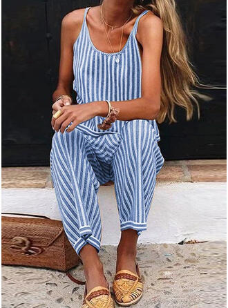 Striped Spaghetti Strap Sleeveless Casual Jumpsuit
