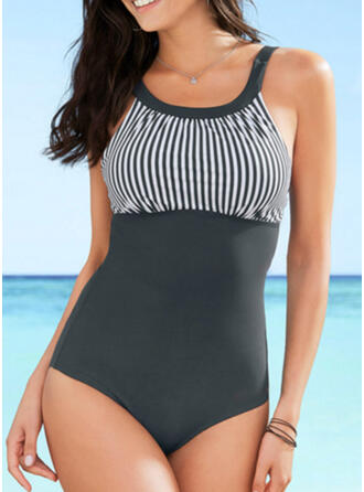Stripe Strap U-Neck Vintage Classic One-piece Swimsuits