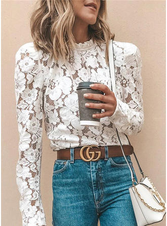 Solid Floral Lace Stand collar Long Sleeves Casual Elegant Blouses