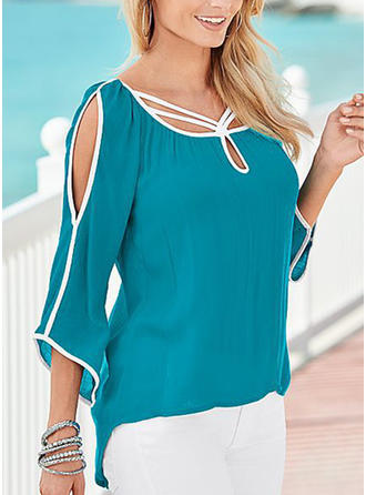 Solid Cold Shoulder 3/4 Sleeves Casual Elegant Blouses