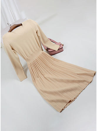 Solid V-neck Midi A-line Dress