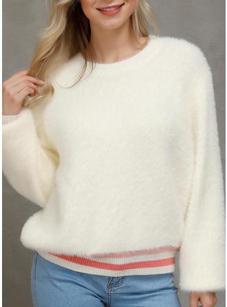 Patchwork Round Neck Sweaters