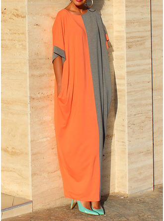 Color-block Korte ærmer Shift Maxi Casual Kjoler