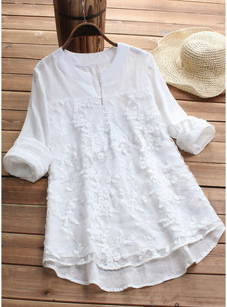 Solid Lace V neck Long Sleeves Elegant T-shirts