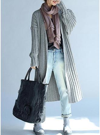 Bawełna Długie rękawy Jednolity kolor Kardigany