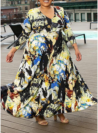 Print Long Sleeves A-line Casual/Plus Size Maxi Dresses